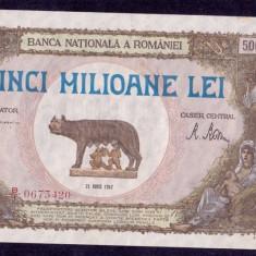 Romania 5000000 lei 1947 aunc inflatie - Bancnota romaneasca