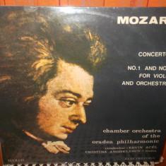 -Y- MOZART -V CONCERT NR 1 SI 2 PENTRU VIOARA SI ORCHESTRA - CRISTINA ANGHELESCU - Muzica Clasica, VINIL