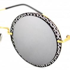 Ochelari de soare Rotunzi Gri Oglinda Dantela - Auriu