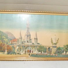 Rama mare aurie originala cca 1900, ext. 59.5/25 cm.Lourdes-Basilica/Fec. Maria., Lemn, Dreptunghiular