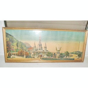 Rama mare aurie originala cca 1900, ext. 59.5/25 cm.Lourdes-Basilica/Fec. Maria.