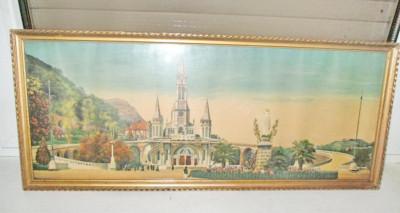 Rama mare aurie originala cca 1900, ext. 59.5/25 cm.Lourdes-Basilica/Fec. Maria. foto