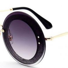 Ochelari de soare Rotunzi Sclipici Double Negru - Auriu