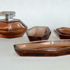 Superb Vanity Set Perfume, Vaporizator si Vase Cosmetice Cristal Boemia