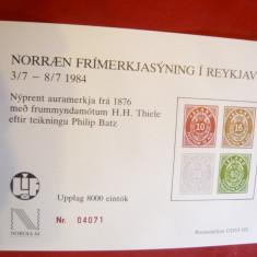 Colita pt.Expozitie 1984 Islanda, numerotata- cu prima serie Islanda - Timbre straine, Nestampilat