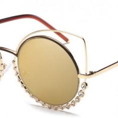 Ochelari de soare Ochi de Pisica Oglinda Gold degrade - Auriu cu cristale