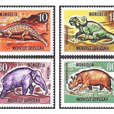 Mongolia 1967 - animale preistorice, serie neuzata - Timbre straine