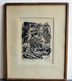 EUGEN  STEC  CORABIA  NEAGRA  GRAVURA  PE  HARTIE  23x30 CM SEMNAT DREAPTA JOS, Marine, Carbune, Realism