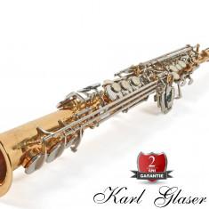 Saxofon Sopran auriu+argintiu Karl Glaser Saxophone drept Si b nou Germania Sax