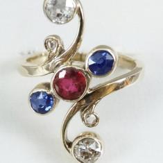 Inel din aur 14k cu rubin - 2 diamante si safire - Inel diamant, Culoare: Galben