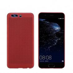 Husa HUAWEI P10 Lite Perforata Rosie - Husa Telefon Huawei, Rosu, Plastic, Fara snur, Carcasa