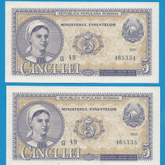 5 lei 1952 1 UNC Serii Consecutive - Bancnota romaneasca