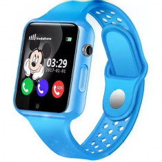Ceas GPS Copii iUni Kid98, Telefon incorporat, Touchscreen 1.54 inch, Bluetooth, Notificari, Camera, Albastru + Spinner Cadou
