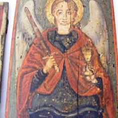 Icoana romaneasca pictata sec 18/19 40*30 cm, arhanghelul Mihail - Icoana cu foita de aur