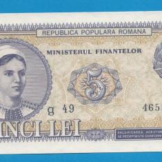 5 lei 1952 2 UNC - Bancnota romaneasca