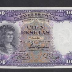 Spania 100 pesetas 1931 UNC - bancnota europa