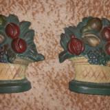 Set 2 statuete metal cos cu fructe 1kg bucata 12, 4cm x 12.4cm vintage cod020.04 - Metal/Fonta