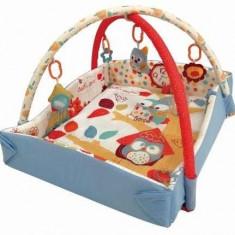 Saltea de joaca cu protectii laterale Owls - Tarc de joaca Baby Mix, Multicolor