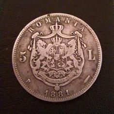 Moneda Din Argint Romania - 5 Lei 1881 - Moneda Romania