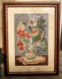 Tablou in acuarele Natura statica cu flori semnat 1985 51x67cm