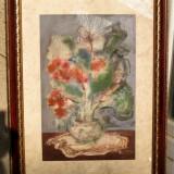 Tablou in acuarele Natura statica cu flori semnat 1985 51x67cm, Acuarela, Realism