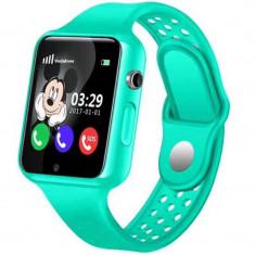 Ceas GPS Copii iUni Kid98, Telefon incorporat, Touchscreen 1.54 inch, Bluetooth, Notificari, Camera, Verde + Spinner Cadou