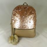 Rucsac/ghiozdan mare auriu cu paiete si breloc puf+CADOU - Rucsac dama