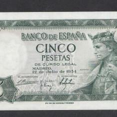 Spania 5 pesetas 1954 UNC - bancnota europa