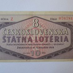 Rar! Bilet loteria Cehoslovacia 1959 - Cambie si Cec