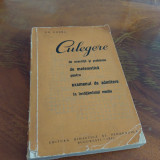 Gh, Gheba Culegere De Exercitii si probleme de matematica 1964 - Carte Matematica