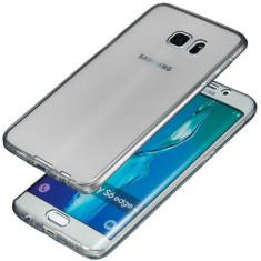 Husa de protectie fata + spate din TPU moale pentru Samsung Galaxy S6 Edge Plus, TPU 0.3 mm, gri