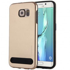 Capac de protectie Motomo V3 pentru Samsung Galaxy S6 Edge, TPU moale si aluminiu, auriu