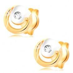 Cercei din aur de 14K - diamant transparent în cerc bicolor - Cercei aur