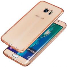 Husa de protectie fata + spate din TPU moale pentru Samsung Galaxy S6 Edge Plus, TPU 0.3 mm, rose gold - Husa Telefon