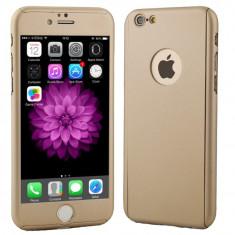 Husa Full Cover 360° (fata + spate + geam sticla) pentru Apple iPhone 7, auriu