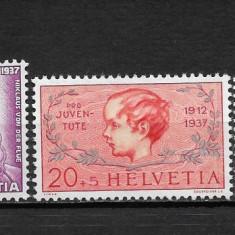 Elvetia 1937 serie + colita, Nestampilat