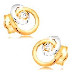 Cercei din aur 585 - diamant strălucitor transparent, cerc mare și mic - Cercei aur