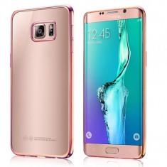 Capac protectie TPU cu margini electroplacate pentru Samsung Galaxy S6 Edge Plus, rose gold - Husa Telefon