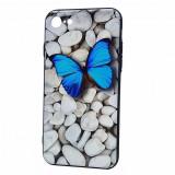 Capac din plastic solid si silicon cu desen 3D The Butterfly pentru Apple iPhone 7 - Caserola