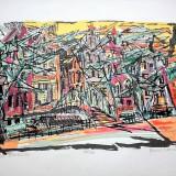 Marcel Iancu (Janco) - Port d'Amsterdam /Lucrare deosebita, semnata - Litografie