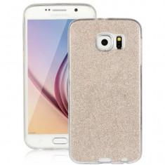 Capac de protectie Glitter TPU pentru Samsung Galaxy S6 Edge Plus, auriu