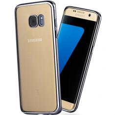 Capac protectie TPU cu margini electroplacate pentru Samsung Galaxy S6 Edge Plus, gri inchis - Husa Telefon