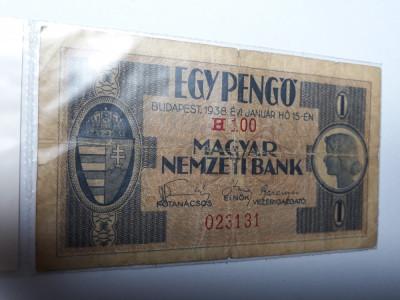 1 Pengo 1938 Ungaria , bancnota veche mai rara foto
