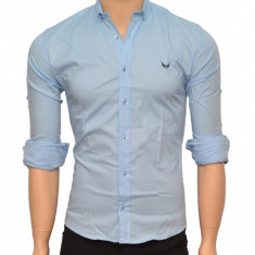 Camasa Slim Fit barbati bleu cu picatele negre - Camasa barbati (bumbac)