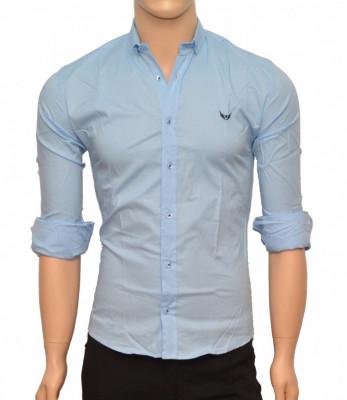 Camasa Slim Fit barbati bleu cu picatele negre - Camasa barbati (bumbac) foto