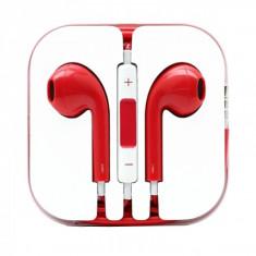 Casti in-ear cu microfon universale, iphone si samsung, rosu