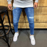 Blugi barbati conici albastri cu stickere rupti in genunchi elastici skinnyfit, Marime: 29, 30, 31, 32, 33, 34, 36, Culoare: Albastru, Lungi, Cu rupturi