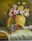 VAS CU FLORI pictura ulei / tablou / fara rama, Realism