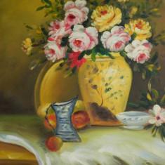 VAS CU FLORI pictura ulei / tablou / fara rama - Tablou autor neidentificat, Realism