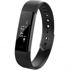 Bratara Fitness iUni ID115 Plus, Display OLED, Bluetooth, Pedometru, Monitorizare puls, Notificari, Android si iOS, Negru